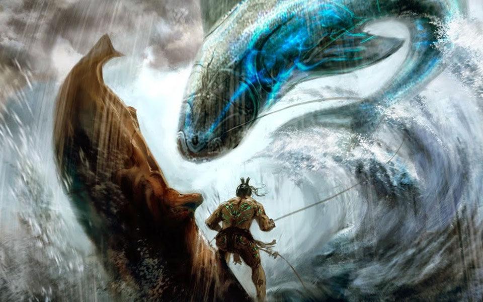 Маори борется с мифическим чудовищем