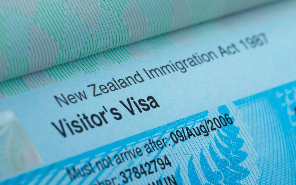 Бланк новозеландской визы