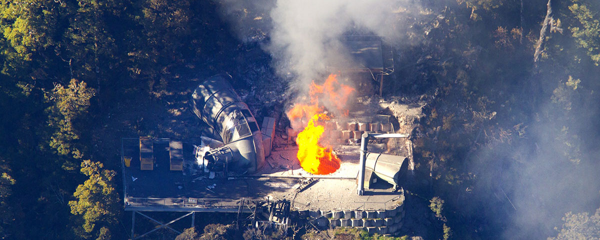 Столб огня из шахты