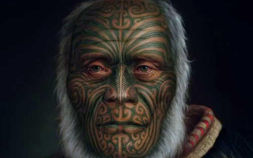 Та-моко на лице маори
