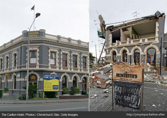 Крайстчерч до и после землетрясения