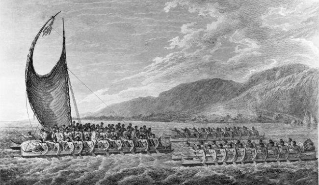 Каноэ маори, на которых они прибыли в Новую Зеландию