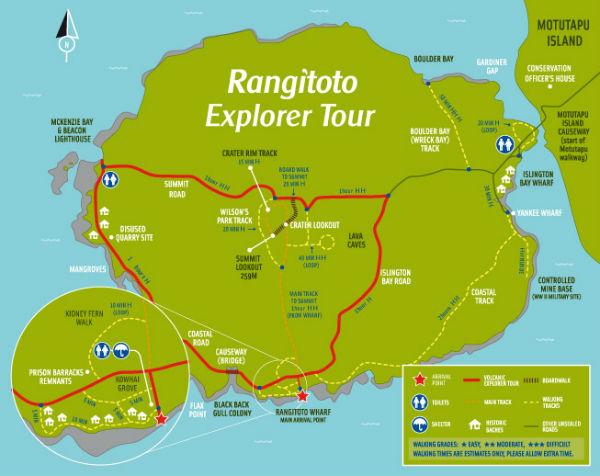 Карта острова Рангитото