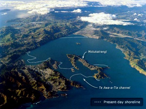 Очертания гавани Веллингтона до землетрясения Haowhenua