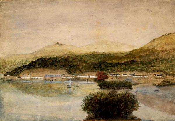Поселение маори в Порту Росс. Зарисовка