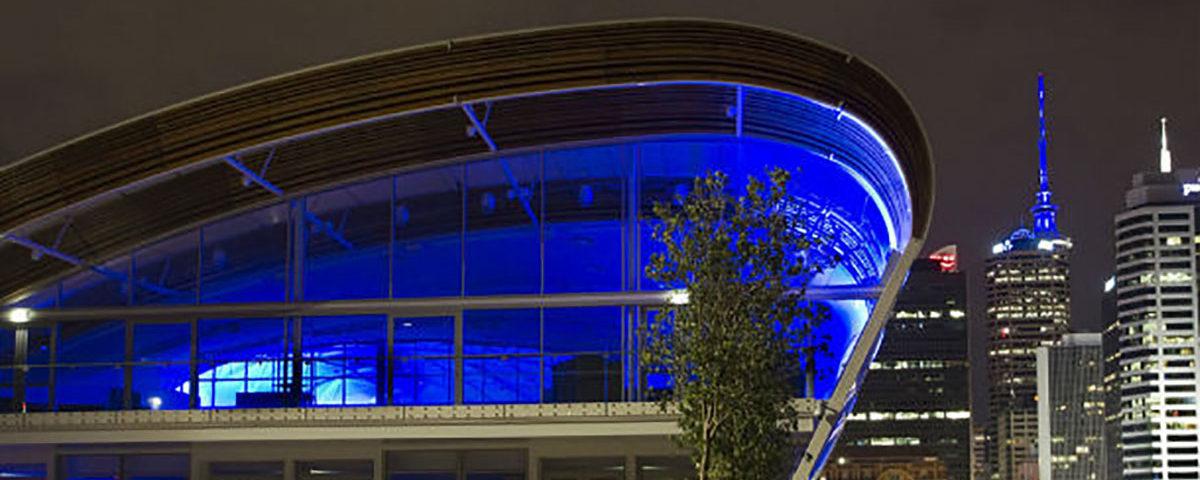 Синяя подсветка Окленда ночью