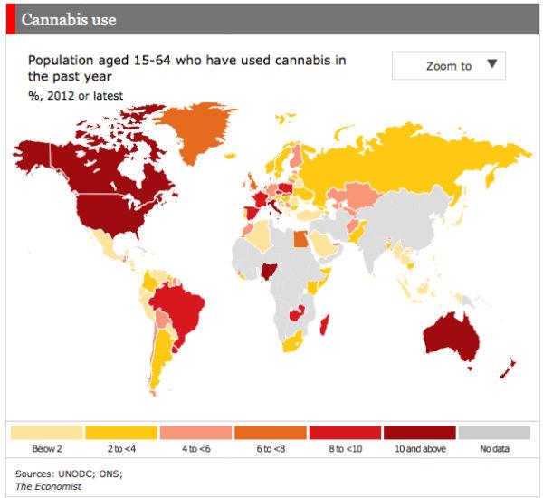 Карта потребления марихуаны в мире
